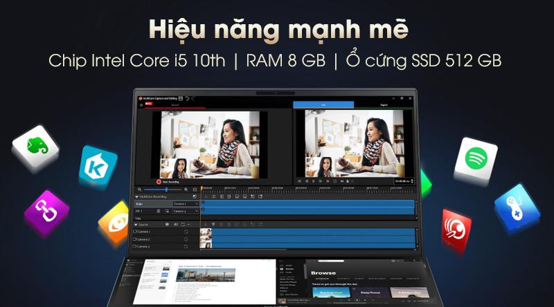 Laptop Asus ZenBook Duo UX481F có cấu hình khỏe