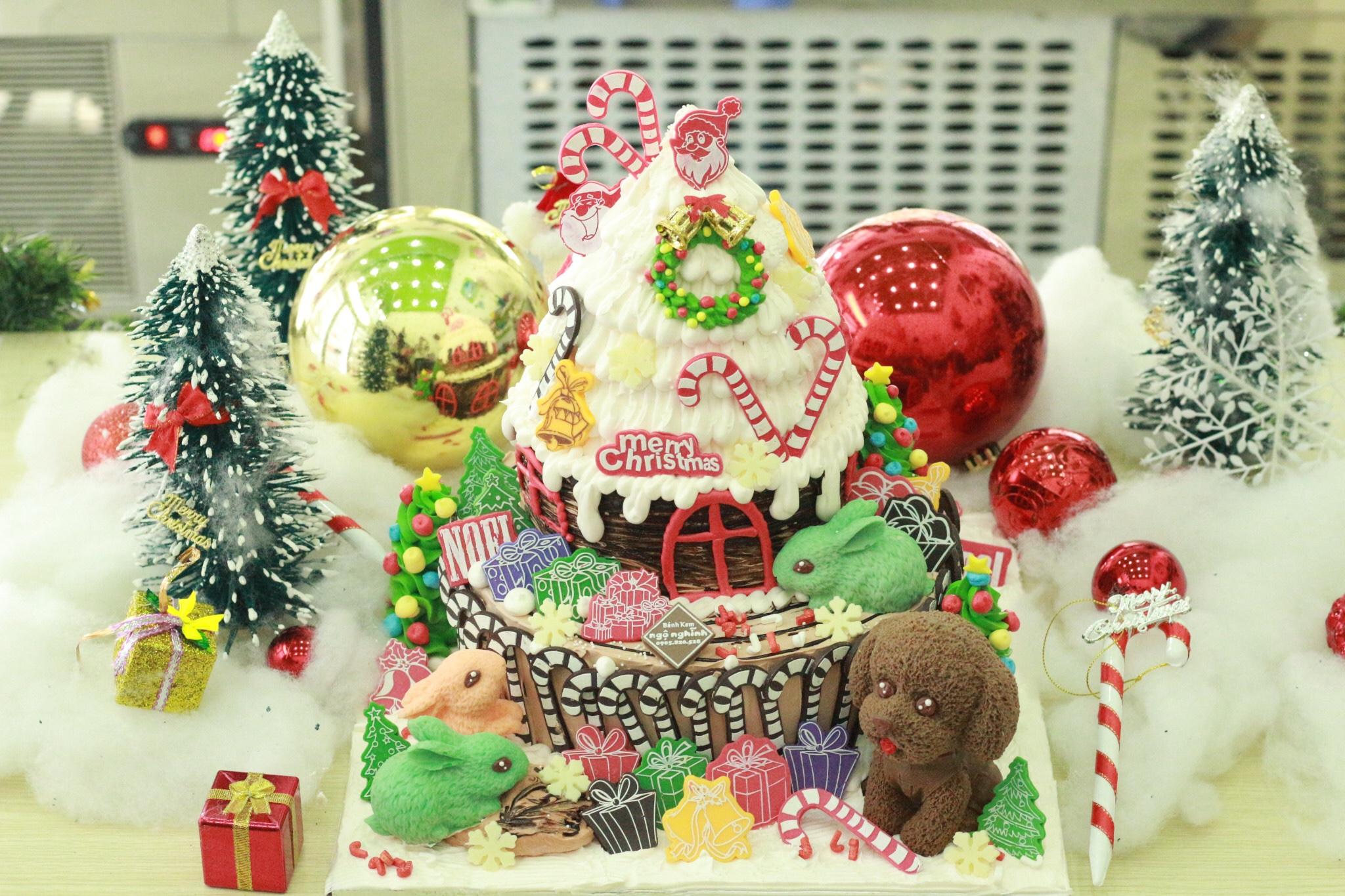 Bánh kem sinh nhật tạo hình trang trí cây thông tiệc noel ngộ ...